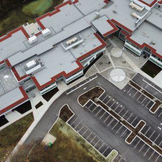 Aerial shot of new school